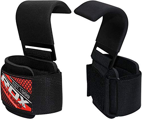 RDX Weight Lifting Hook Straps - Neoprene Padded Wrist Grips for Powerlifting, Weightlifting, Bodybuilding, Strength Training & Workout- Great for Deadlift, Shrugs, Chin Up and Dumbbell Rows