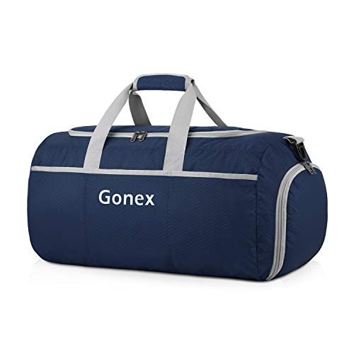 Gonex 50L Foldable Travel Duffel Bag for Luggage, Gym, Sport, Camping, Storage, Shopping Water & Tear Resistant Navy blue