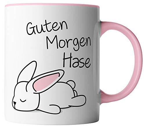 vanVerden Tasse - Guten Morgen Hase - beidseitig Bedruckt - Geschenk Idee Valentinstag Liebe Love mit Spruch, Tassenfarbe:Weiß/Rosa