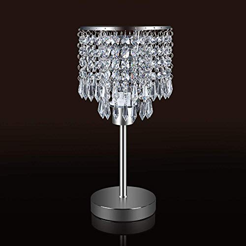 Perhejer Crystal tafellamp kristal nachtkastje tafellamp elegante decoratieve nachtkastje lamp ideaal voor slaapkamer kantoor kamer kinderen kamer