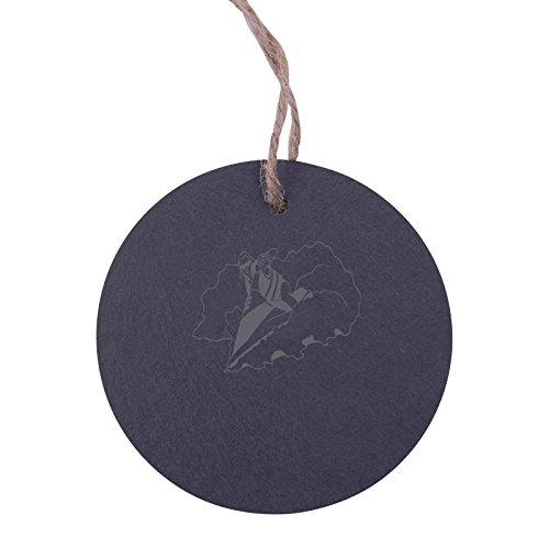 Personalized Custom Jet Ski 3.125-inch Circle Slate Hanging Christmas Tree Ornament