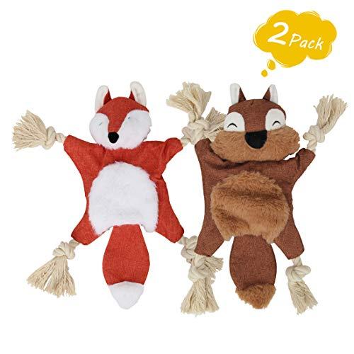 Hundespielzeug mit Quietschelement, kein Füllen, niedliches Fuchs- und Eichhörnchen-Design, knisternes Hundespielzeug mit Baumwollseil und BB Sound, lustiges Geschenk für Welpen und kleine Hunde
