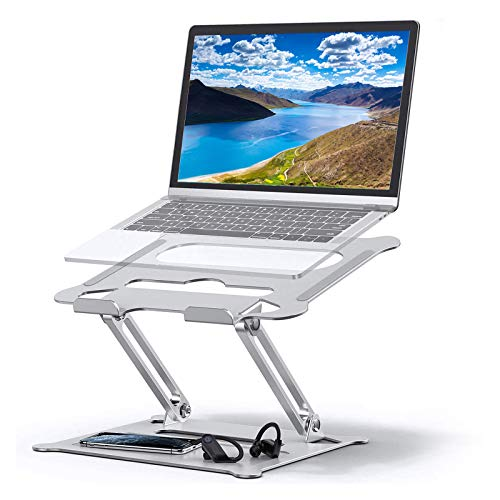Portable Laptop Riser for Desk, Adjustable Ergonomic Tablet Stand, Multi-Angle Aluminum Riser Stand w/Mouse Pad, Heat-Vent Notebook/Computer Riser for Mac, MacBook Pro/Air, Lenovo,HP 10-15.6' (Silver)
