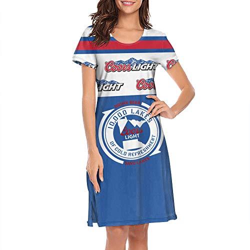 Unicorns Farting Short Sleeve Nightgowns Women's Art-Logo-coors-Light- Dress