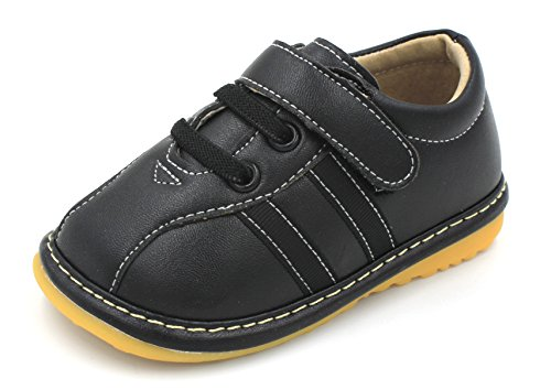 Little Mae's Boutique Black Sneaker Squeaky Shoes for Toddler Boys, Ideal Toddler Walking Shoes with Removable Squeaker and Adjustable Strap - Flexible Sole Baby Shoes (3)