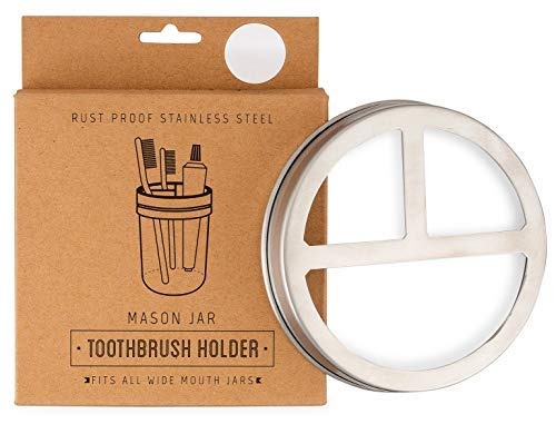 Jarmazing Products Mason Jar Toothbrush Holder Lid - Stainless Steel - for Wide Mouth Jars