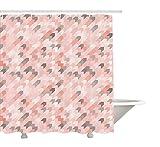 Luz rosa cortina de ducha por yeuss, conceptual flechas patr¨n Chevron inspiraci¨n Vintage Diagonal rayas, tejido set de decoraci¨n de ba?o con ganchos, p¨lido rosa blanco gris 60?'x72', 72'x72'