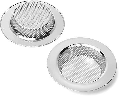 Qinglele 2 coladores para fregadero de cocina y baño, filtro de drenaje de acero inoxidable, más grueso, diámetro exterior de 112 mm (tamaño grande)