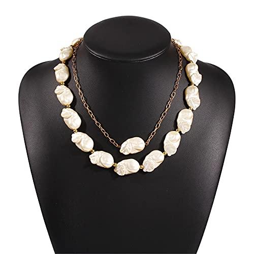 AMTBBK Collar De Perlas Barroco Collar De Perlas Irregulares De Doble Capa para Mujer Joyería Cadena De Clavícula Cuelgas Regalos