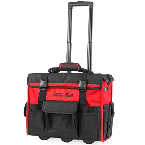 "XtremepowerUS Rolling Tool Bag with Wheels Organizer Telescoping Handle 18"" Wide Storage Organizer Bag Tool Box with Wheels"
