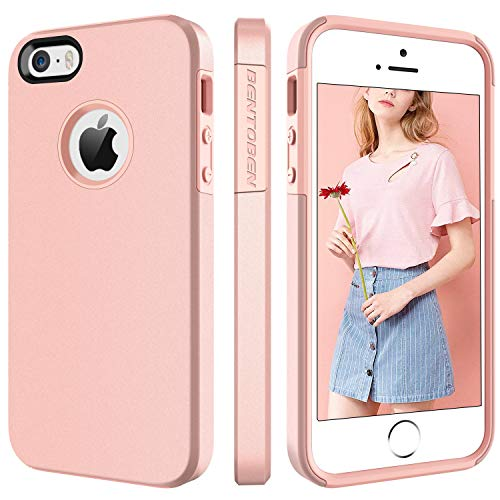 BENTOBEN Case for iPhone SE, iPhone 5S, iPhone 5, 2 in 1 Soft Hybrid TPU Bumper Hard PC Phone Protective Cover, Shockproof Heavy Duty Phone Cover for Women, Girls – Rose Gold