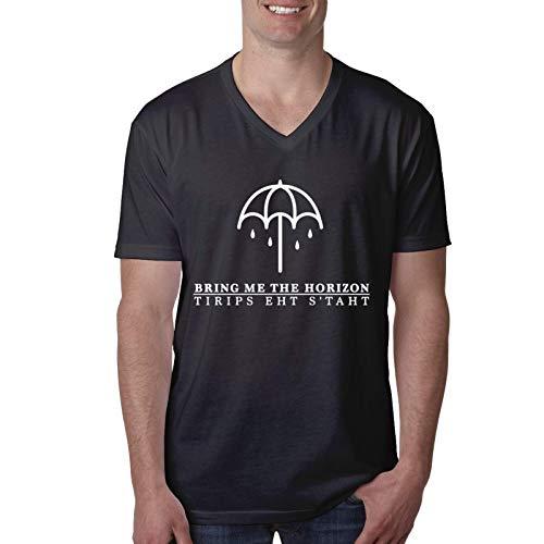 Bring Me The Horizon Camiseta de Manga Corta con Cuello en V para Hombres y j¨Venes de Moda Blusa Camisetas Grandes