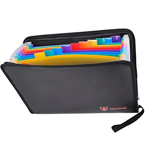 probeninmappx Feuerbeständige Expanding File Folder Document Organizer mit Reißverschluss Mobile Ablage Pouch - Bunte Taschen