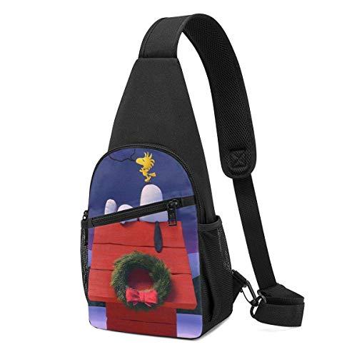 Bandolera – Noche de Navidad Snoopy Crossbody Sling Mochila de viaje senderismo bolsa de pecho para mujeres hombres