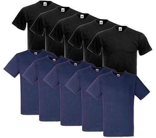 10 Fruit of the loom T Shirts V-Neck M L XL XXL V-Ausschnitt Diverse Farben auswählbar (XL, 5Schwarz/5Deep Navy)