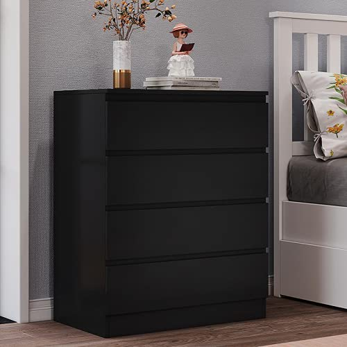 Panana Wooden 3/4/5/6 Chest of Drawers with Metal Runners Modern Bedside Storage Cabinet for Living Room Hallway Bedroom (Black, 4 Drawer Chest)