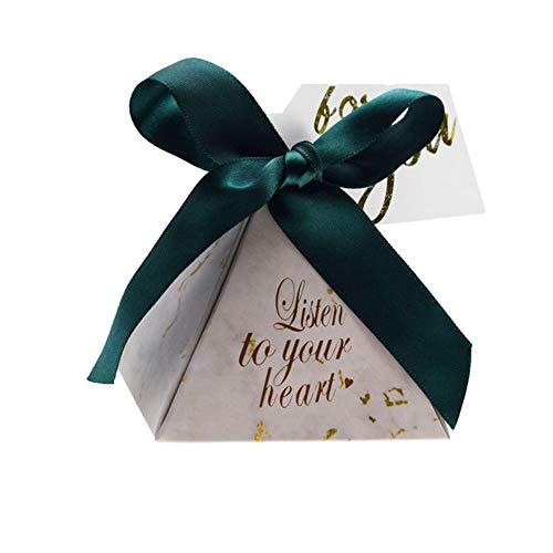 Xinger Driehoekige Piramide Snoepdoos Trouwbedankjes en Geschenken Dozen Snoepzakken voor gasten Bruiloftsdecoratie Babyborrel Feestartikelen, Groen, 50 STUKS