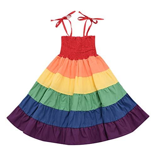 SO-buts - Vestido de Verano para niñas de 0 a 4 años, diseño de Rayas de arcoíris