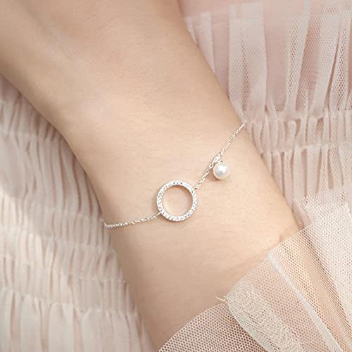 SONGK Pulsera de círculo geométrico de Plata de Ley 925 para Mujer, Pulsera de Cadena de Perlas de circonita Micro Pave, Regalos de joyería