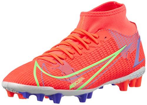 Nike Superfly 8 Academy AG, Football Shoe Hombre, Bright Crimson/Metallic Silver-Indigo Burst-White-Rage Green, 42 EU