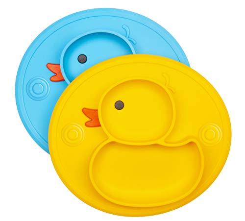 Baby Teller Schüssel Mini Silikon Tischset für Baby Kleinkinder und Kinder Tragbar Teller Baby Rutschfest Babyteller Tischset Abwaschbar für Spülmaschine, Mikrowelle (Ente Blau/Gelb)