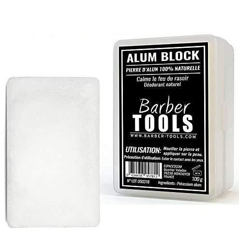 ✮ Barber Tools ✮ Piedra de alumbre 100% natural - 100 gr - Con su caja de almacenamiento After shave y desodorante natural.