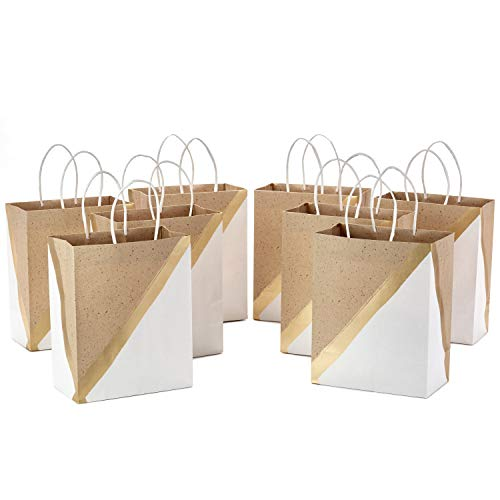 Hallmark 9' Medium Paper Gift Bags (Pack of 8 - White & Kraft) for Christmas, Birthdays, Weddings, Easter, Mothers Day, Graduations, Baby Showers, Bridal Showers, Care Packages