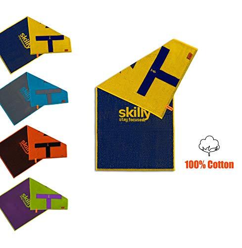 Skilly, asciugamano per attività sportive, per la forma fisica, Retro FIT, perfetto per la palestra, bicolore, con laccio elastico per fissarlo agli attrezzi da allenamento, Endasy