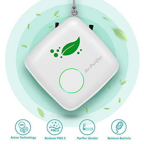 Aibrisk Mini Portable Air Purifier Personal Travel, Home Wearable Air Purifier Necklace USB Charging Air Cleaner, Eliminates Smoke, Dust, Pollen