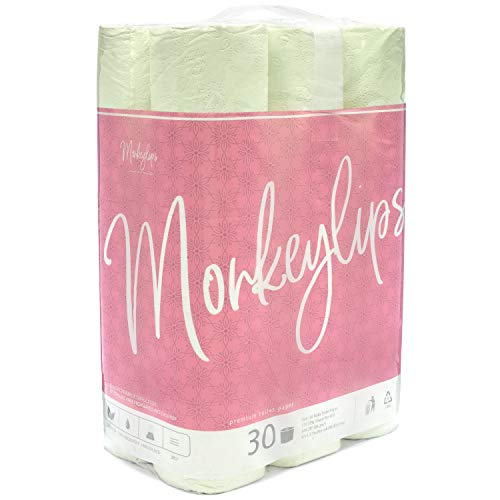 Monkeylips Organic Green Tea Toilet Paper, Unbleached, 30 Rolls, 3 Ply