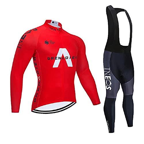 Maillot de Cyclisme + Pantalon Homme Manche Longue Tenue Cycliste Rembourrage Équipement Ensemble pour Velo VTT de Sport Respirant Confortable