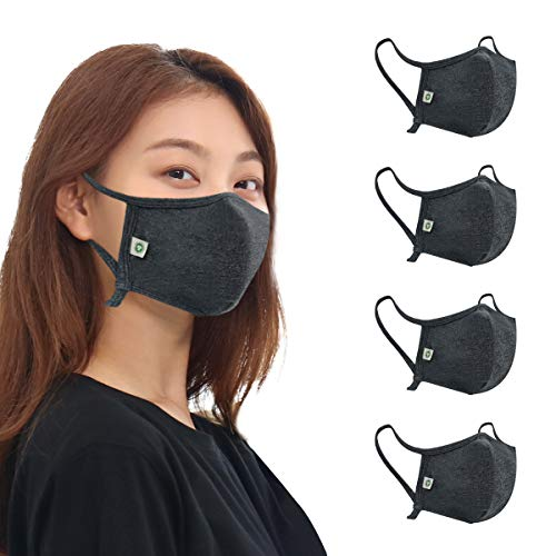 think ECO Organic Cotton ski Mask, Pack of 4, Adjustable Non-Elastic Ear Loops, Koreabn style. two size. (Small (36 M ~ 11 Y), Charcoal 4p)