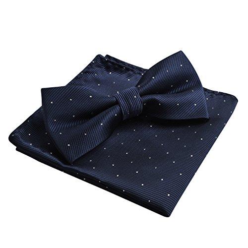 Enjoymore, set da uomo composto da papillon e fazzoletto con puntini argentati Dark Navy Taglia unica