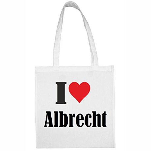 Tasche I Love Albrecht Größe 38x42 Farbe Weiss Druck Schwarz