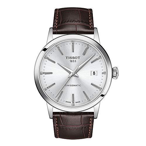 Tissot Herren-Uhren Analog Automatik One Size Weiß Leder 32015374