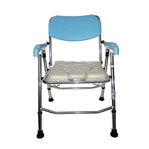 In hoogte verstelbare douchestoel voor oudere mensen, nachtstoel, verrijdbare toiletstoel, mobiele stoel, badkamer, rolstoel, toiletpotje