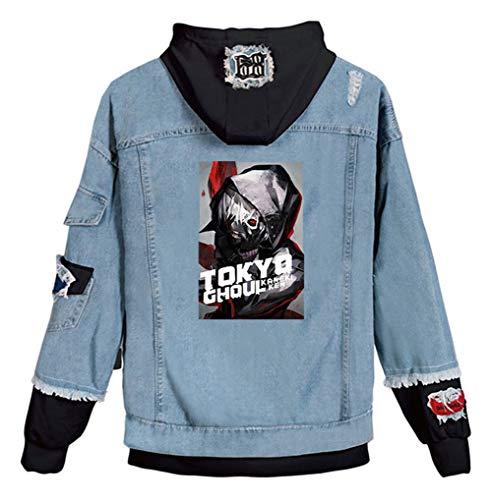Gumstyle Anime Tokyo Ghoul Kaneki Ken Denim Hoodie Jacket Adult Cosplay Button Down Jeans Coat B-Black 1 L