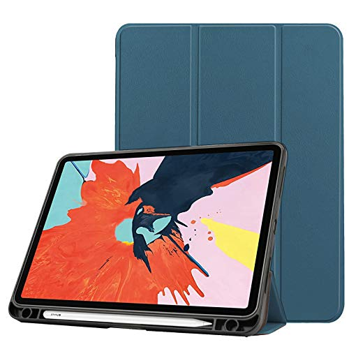 Case for New Ipad Air 4 10.9 Inch 2020 (4Th Generation) with Pencil Holder, Soft TPU Back And Trifold Smart Protective Cover with Auto Sleep/Wake,green