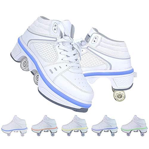 Rollschuhe, Roller Skates Mit Double Line Skates 4 Wheels 2 in 1 Parkour Schuhe/Outdoor Kick Rollers Für Erwachsene,38