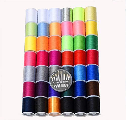 Hilo para coser de colores, 42 carretes (2103 metros), de alta resistencia, todos los colores, para bordado manual o a máquina, gratis 30 agujas de ojo dorado de calidad.