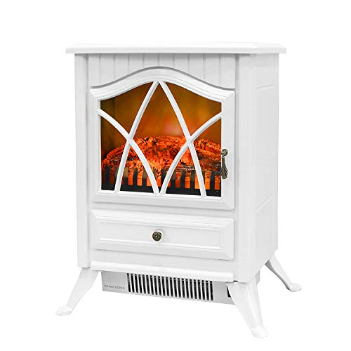 Bathonly Electric Fireplace 1500W Free Standing Fireplace Heater, 2 Heat Modes Plastic Frame&Overheating Protection, Electric Fireplace Stove Heater with Realistic Log Flame Heater -White