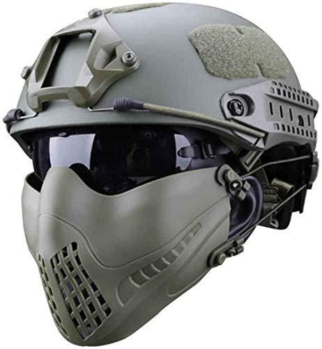 SNFHL Airsoft Paintball Tactical Quick Casco, Media Máscara y Juego Combinado de Gafas de Protección UV, Entrenamiento Militar, Caza, Tiro, CS, Juego Guerra,Green