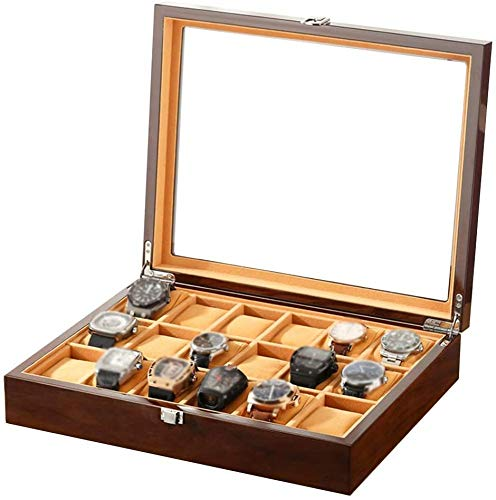 SONGTAO Large Watch Box For Men - 18 Watches Slots, Jewelry Wood Watch Display Organizer Glass Top, Lockable Metal Buckle