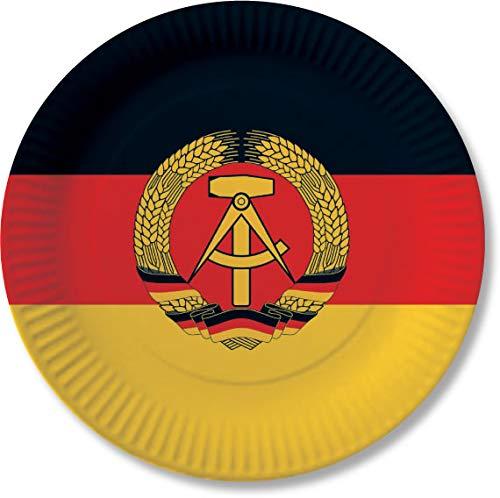 10 Pappteller im * DDR * für Party und Geburtstag von DH-Konzept // Teller Partyteller Party Fete Mottoparty Deutsche Demokratische Republik Schwarz Rot Gold Hammer Sicher Ostalgie