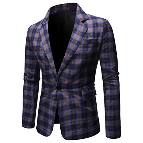 MrTom Chaqueta de Traje para Hombre Blazer de Negocios Boda Fiesta A Cuadros Trajes de Vestir Americanas Casual Slim Fit Un Botón Chaquetas de Esmoquin Chalecos Formal Camisas Abrigo Tops