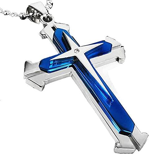 RosieLily Diamond Cross Necklace Unisex Hombres Acero Inoxidable Cross Colgante Colgante Cadena(Color:Azul)