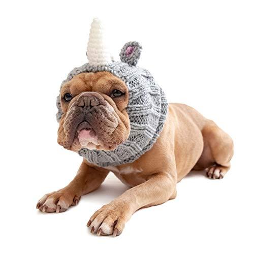 Zoo Snoods Rhino Dog Costume - Neck and Ear Warmer Hood (Medium)