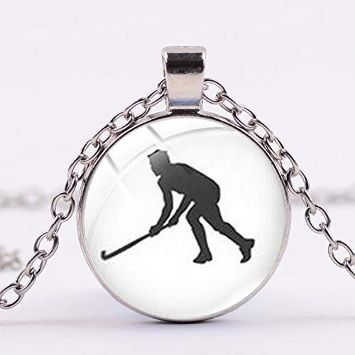 Liebe Hockey Silber Kette Halskette Eishockey Spieler Silhouette Druck Glas Cabochon Anhänger Männer Frauen Sport Schmuck