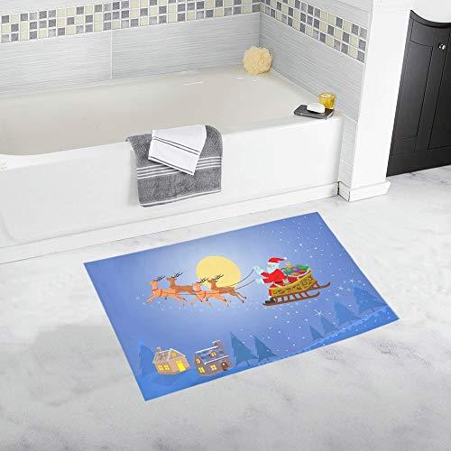 YXUAOQ Sankt auf Pferdeschlitten-Geschenkbox-Nachtkundenspezifischer Rutschfester Bad-Matten-Teppich-Bad-Fußmatten-Boden-Teppich für Badezimmer 20 x 32 Zoll
