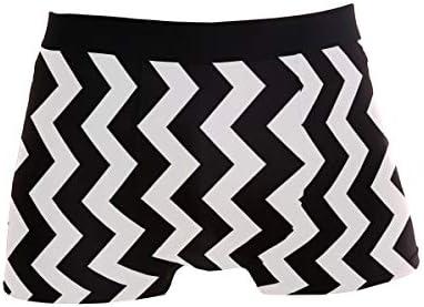 Elegante Negro Blanco Zig Zag L Ropa Interior Sexy para Hombre Boxer Briefs Soft Pants Ring